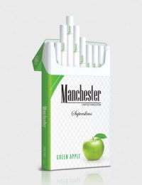 Manchester Superslims green apple cigarettes 10 cartons
