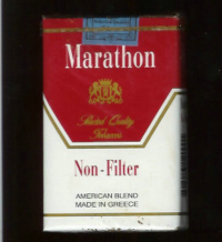 Marathon Non-Filter American Blend white and red cigarettes